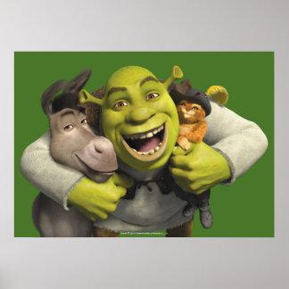 Asno, Shrek, e Puss nas botas Pôster