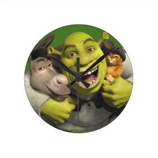 Asno, Shrek, e Puss nas botas Relógios Para Paredes