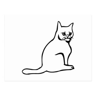 Assento branco puro do gato cartão postal