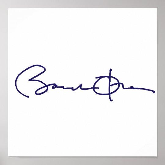 Assinatura de Barack Obama Pôster