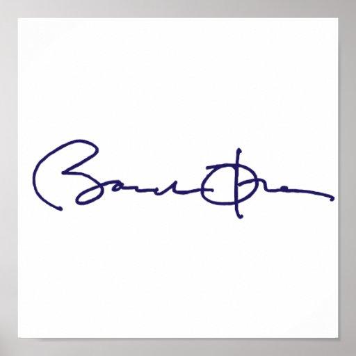 Assinatura de Barack Obama Pôsteres