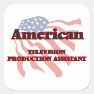Assistente americano da produção da televisão adesivo quadrado