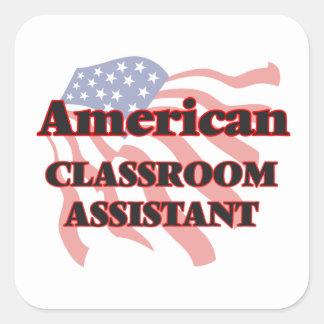 Assistente americano da sala de aula adesivo quadrado