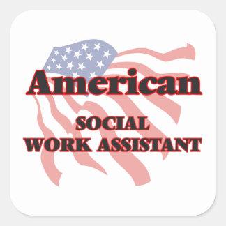 Assistente americano do trabalho social adesivo quadrado