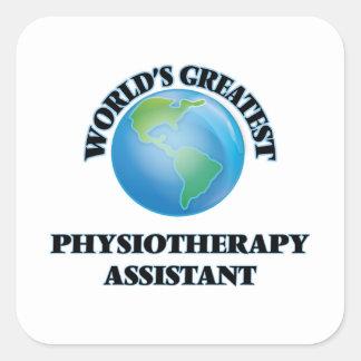 Assistente da fisioterapia do mundo o grande adesivo quadrado