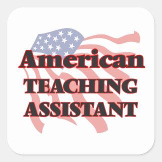 Assistente de ensino americano adesivo quadrado