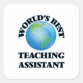 Assistente de ensino do mundo o melhor adesivo em forma quadrada