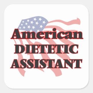 Assistente dietético americano adesivo quadrado