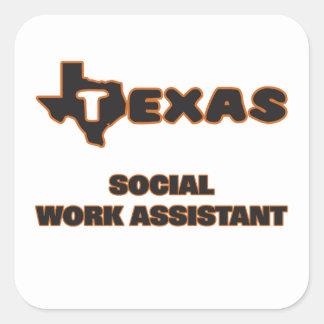 Assistente do trabalho social de Texas Adesivo Quadrado