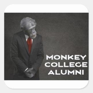 Associação de alunos da faculdade do macaco adesivo quadrado
