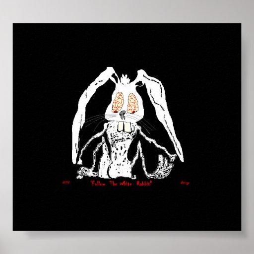 Assustador decorativo do coelho branco do poster d