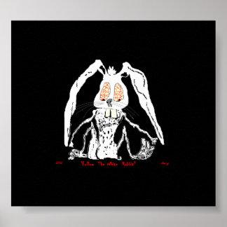 Assustador decorativo do coelho branco do poster d pôster