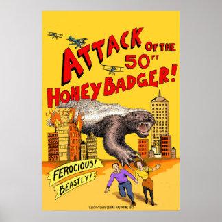 Ataque do texugo de mel de 50ft! Poster Pôster