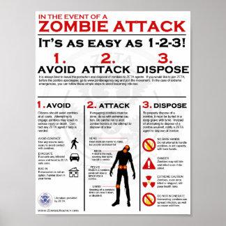 Ataque do zombi - poster 1-2-3 pôster