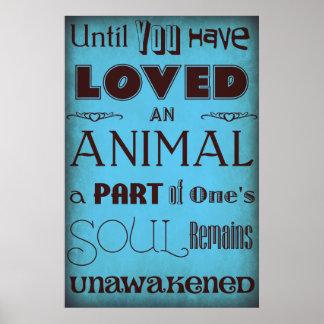 """""""Até que você amou… """"um azul animal do poster"""