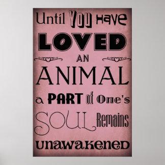"""""""Até que você amou… """"um roxo animal do poster"""