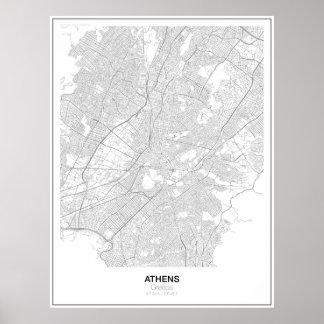 Atenas, poster minimalista do mapa da piscina
