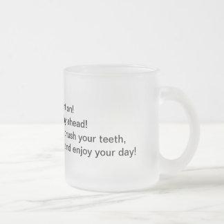 Atenção da manhã caneca de café vidro jateado