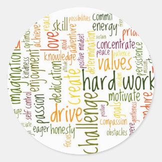 Atitude positiva inspirador das palavras #2 adesivo em formato redondo