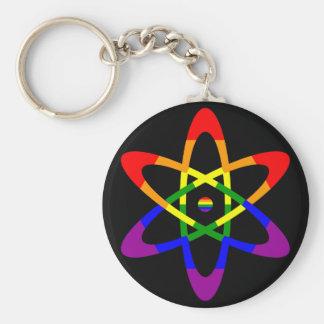 Átomo da bandeira do arco-íris chaveiro