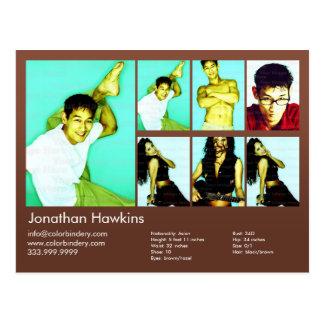 ator 2-Sided & comp(s) modelo do Headshot de Brown Cartão Postal