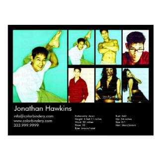 ator 2-Sided & comp(s) pretos modelo do Headshot Cartão Postal