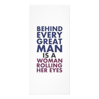 Atrás de cada excelente o homem é uma mulher que 10.16 x 22.86cm panfleto