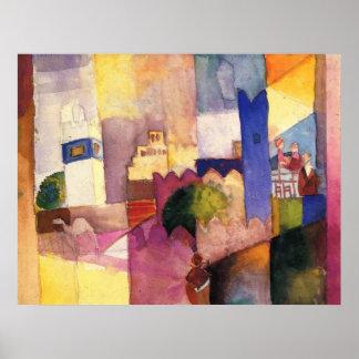 August Macke - aguarela 1914 de Kairouan (iii) Posteres