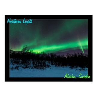 Aurora boreal no cartão da suecia