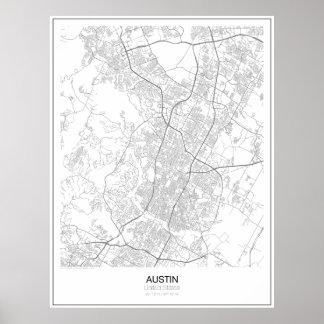 Austin, poster minimalista do mapa dos Estados