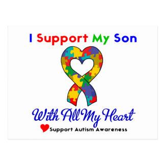 Autismo: Eu apoio meu filho com todo o meu coração Cartão Postal
