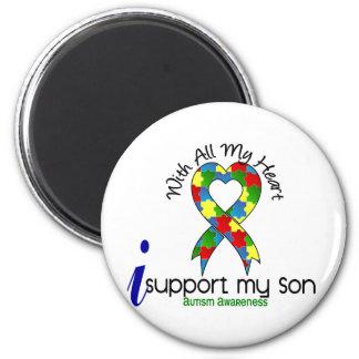 Autismo eu apoio meu filho ímã redondo 5.08cm