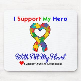 Autismo: Eu apoio meu herói com todo o meu coração Mousepad