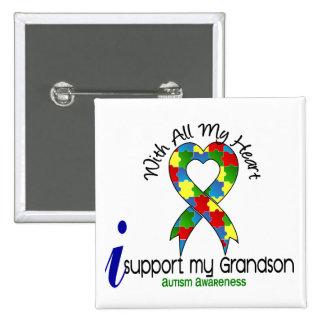 Autismo eu apoio meu neto bóton quadrado 5.08cm