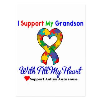 Autismo: Eu apoio meu neto com todo o meu coração Cartão Postal