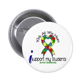 Autismo eu apoio meus estudantes bóton redondo 5.08cm