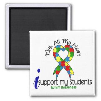 Autismo eu apoio meus estudantes ímã quadrado
