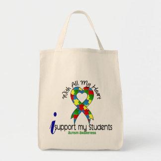 Autismo eu apoio meus estudantes sacola tote de mercado
