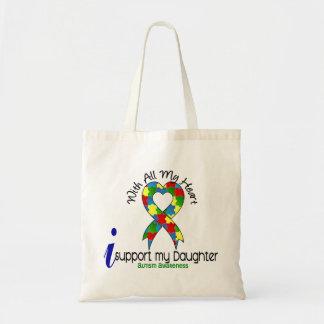 Autismo eu apoio minha filha bolsas de lona