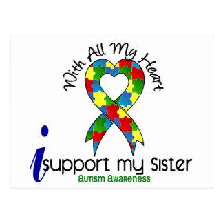 Autismo eu apoio minha irmã cartão postal