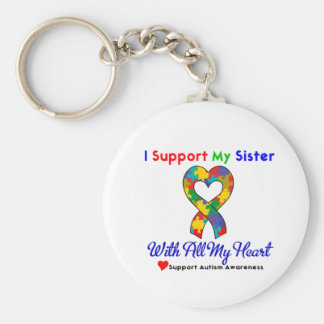 Autismo: Eu apoio minha irmã com todo o meu coraçã Chaveiros