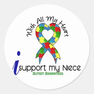 Autismo eu apoio minha sobrinha adesivo redondo