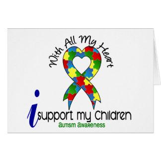 Autismo eu apoio minhas crianças cartão comemorativo