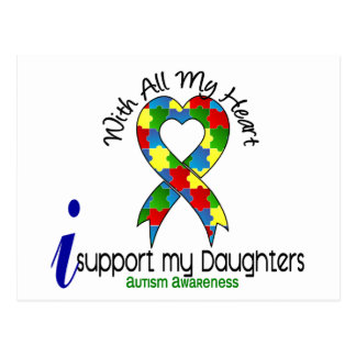 Autismo eu apoio minhas filhas cartão postal