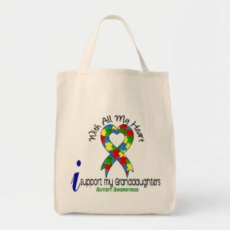 Autismo eu apoio minhas netas sacola tote de mercado