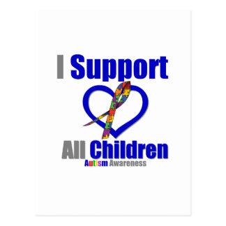 Autismo eu apoio todas as crianças cartão postal