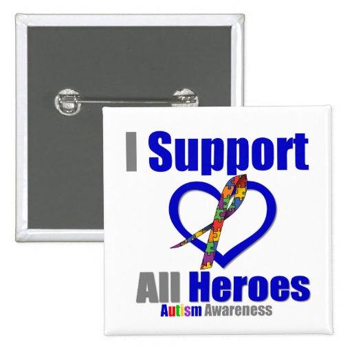 Autismo eu apoio todos os heróis botons