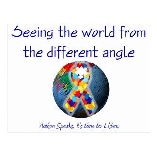 Autismo que vê o mundo do ângulo diferente cartão postal