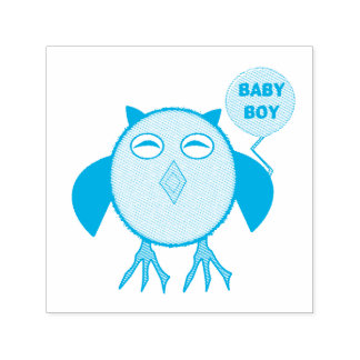 Auto azul bonito da coruja do bebé que cobre o carimbo auto entintado