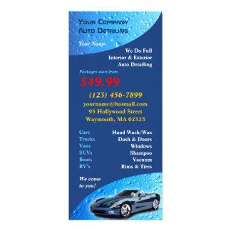 Auto cartão de detalhe da cremalheira panfleto informativo